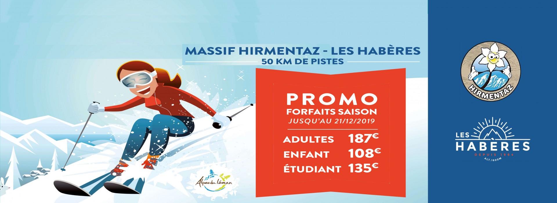 Vente en ligne forfaits tarifs promotionnel Hirmentaz Les Habères hiver 2019-2020