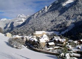 Bellevaux village in winter vallee du brevon