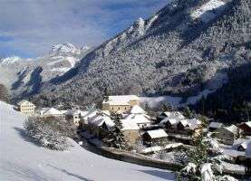 Bellevaux village in winter vallee du brevon